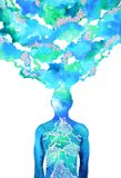 Human head, chakra power, inspiration abstract thinking, world, universe inside your mind, watercolor painting. Art stock illustration