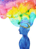 Human head, chakra power, inspiration abstract thought. World, universe inside your mind, watercolor painting Royalty Free Stock Photo