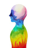Human head, chakra power, inspiration abstract thought. World, universe inside your mind, watercolor painting Stock Image