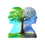Human head chakra powerful inspiration tree abstract thinking inside your mind watercolor painting illustration hand drawn. Human head chakra powerful vector illustration