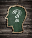Human head chalkboard and question mark concept Stock Photos