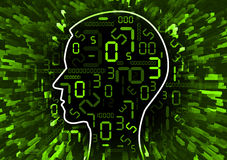 Human Head chaos of digital numbers. Human Head silhouette with digital numbers. Concept for digital technology Stock Image