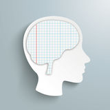 Human Head Checked Paper Brain Stock Photo
