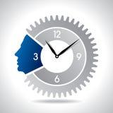 Human head with clock gear Stock Photos