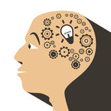Human Head with Cogs - Gears. And Bulb Icons royalty free illustration