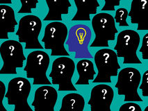 Human head collection with question mark and bulb, this also represents only one person having solution, idea in a group of people Royalty Free Stock Photo