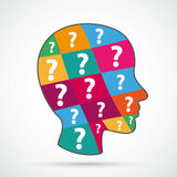Human Head Colored Question Pieces Flat Royalty Free Stock Photo