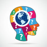 Human Head Colored Question Pieces World View Flat Stock Image