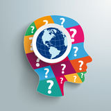 Human Head Colored Question Pieces World View Royalty Free Stock Photography
