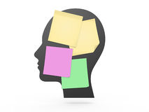 Human Head and Colorful Sticky Posts Stock Image