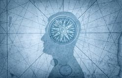 Human head and compass. The concept on the topic of navigation,. Psychology, morality, etc royalty free stock photography