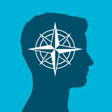 Human head with compass rose sign in silhouette Stock Photography