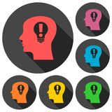 Human head, Creative Idea icon with long shadow. Vector icon Royalty Free Stock Image