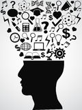 Human head with creative ideas Royalty Free Stock Photo