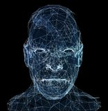 Human head with in 3d space network. Blue abstract futuristic medicine, science and technology background illustration. 3D rendering Stock Image