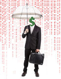Human Head with Dollar Symbol Carrying Umbrella Stock Photos