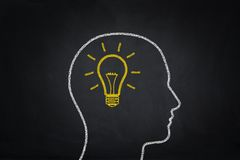 Human head draw in lightbulb - idea concept Stock Images