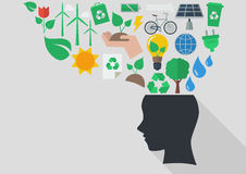 Human head with ecology icons Royalty Free Stock Image