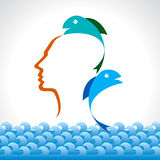 Human head with fish concept. Illustration Stock Photography