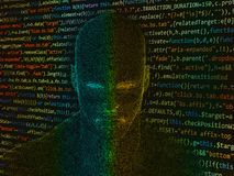 Human head with java code. Human head with futuristic elements and java code Stock Image