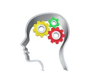 Human head with gearing inside. Human head silhouette with gearing inside isolated on white background Stock Image