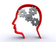 Human head with gears Royalty Free Stock Images