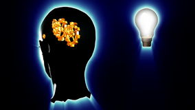 Human head with gears and cogs and a lightbulb. Concept of thinking a brilliant idea stock video