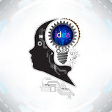 Human head with gears and cogs working together idea concept on Stock Image