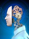 Human head and gears stock image