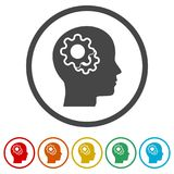 Human head with gears icon, Head with gears conce, 6 Colors Included. Simple vector icons Stock Photos