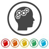 Human head with gears icon, Head with gears conce, 6 Colors Included. Simple vector icons Stock Photography