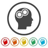 Human head with gears icon, Head with gears conce, 6 Colors Included. Simple  icons Stock Image