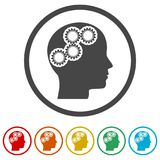 Human head with gears icon, Head with gears conce, 6 Colors Included. Simple vector icons Royalty Free Stock Image