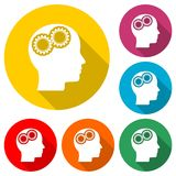 Human head with gears icon, Head with gears concept, color icon with long shadow. Simple vector icons set Stock Image