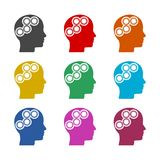 Human head with gears icon, Head with gears concept, color icons set. Simple vector icon Royalty Free Stock Photography