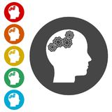 Human head with gears icon, Head with gears concept. Simple  icons set Royalty Free Stock Images