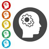 Human head with gears icon, Head with gears concept. Simple vector icons set Stock Image