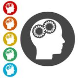 Human head with gears icon, Head with gears concept. Simple vector icons set Stock Images