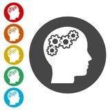 Human head with gears icon, Head with gears concept. Simple  icons set Royalty Free Stock Photos
