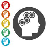 Human head with gears icon, Head with gears concept. Simple vector icons set Stock Photography