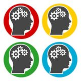 Human head with gears icons set Stock Image