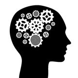 Human head with gears illustration Stock Photography