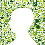 Human head with green icons background Royalty Free Stock Photos