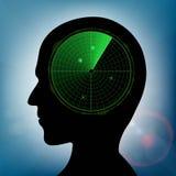 Human head with green military radar inside. Stock  illust Royalty Free Stock Image