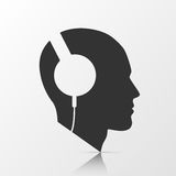 Human head with headphones. Vector illustration Stock Image