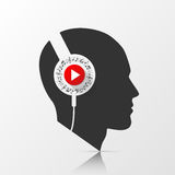 Human head with headphones. Vector Stock Image