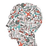 Human head with icons Stock Image