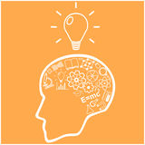 Human head and icons of science. Vector Royalty Free Stock Photos