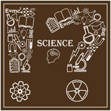 Human head and icons of science. Vector Stock Photo
