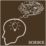Human head and icons of science. Vector Royalty Free Stock Photo